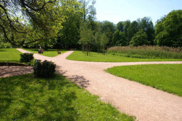 revêtement stabilisé revêtement argilo-calcaire dans un parc