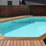 piscine en bois liner et margelle en ipé avec terrasse en bois ipé