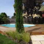entourage piscine bois avec terrasse en ipé et margelles