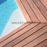 terrasse en bois exotique autour piscine découpe onglet