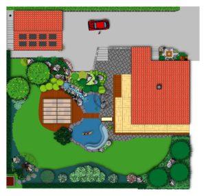 avant-projet pour une piscine paysagée naturelle avec cascade rivière et bassin pour poissons koï séparé