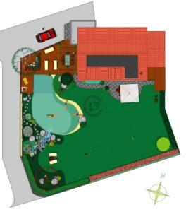 projet d'implantation pour une piscine paysagée sur la côte (VD) avec terrasse en bois exotique