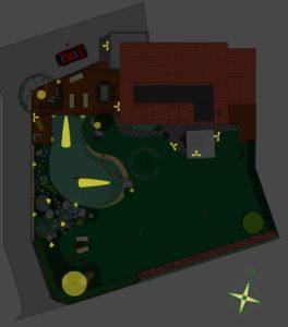 etude pour l'éclairage d'une piscine et d'un jardin